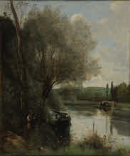 コロー《川辺の木陰で読む女》